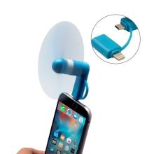 Větráček / ventilátor s Lightning a micro USB konektorem - modrý