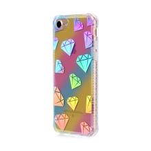 Kryt pro Apple iPhone 7 / 8 - gumový / plastový - duhový / stříbrné diamanty