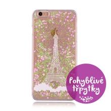 Kryt pro Apple iPhone 6 / 6S - pohyblivé třpytky - plastový - bílý / růžový - Eiffelovka