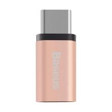 Redukce / adaptér Baseus micro USB / USB-C - růžová - rose gold