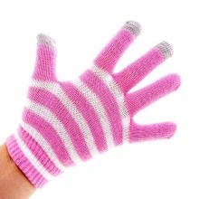 Rukavice pro ovládání dotykových zařízení - pruhované růžovo-bílé