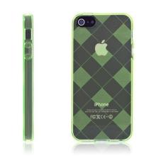 Ochranný gumový kryt pro Apple iPhone 5 / 5S / SE - světle zelený se vzorem kosočtverců