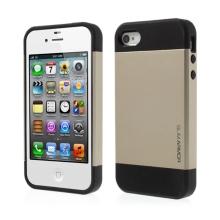 Kryt SLIM ARMOR pro Apple iPhone 4 / 4S - plast / guma - černý / zlatý
