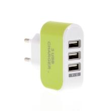 EU napájecí adaptér / nabíječka s 3 USB porty (3.1A) - zelená