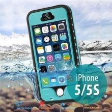 Voděodolné plastové pouzdro Redpepper pro Apple iPhone 5 / 5S / SE s podporou funkce Touch ID + poutko na ruku - tyrkysové