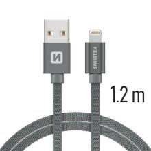 Synchronizační a nabíjecí kabel SWISSTEN - MFi Lightning pro Apple zařízení - tkanička - šedý - 1,2m