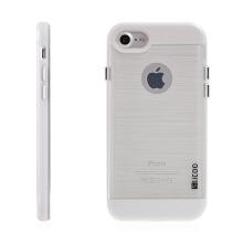 Kryt SLiCOO pro Apple iPhone 7 / 8 gumový / bílý plastový rámeček - broušený vzor - průhledný