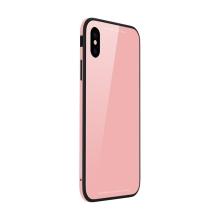 Kryt SULADA pro Apple iPhone Xr - kov / sklo - růžový
