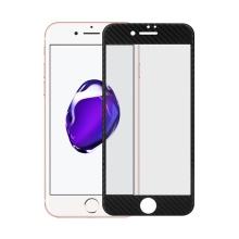 Tvrzené sklo pro Apple iPhone 7 - černý rámeček - karbonová textura - 0,3mm