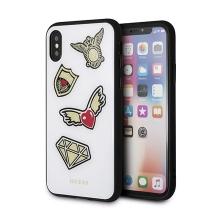 Kryt GUESS Iconic pro Apple iPhone X / Xs - plastový / gumový - bílý