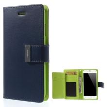 Vyklápěcí pouzdro - peněženka Mercury pro Apple iPhone 6 / 6S - s prostorem pro umístění platebních karet - modro-zelené