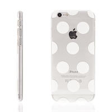 Plastový kryt pro Apple iPhone 6 / 6S - průhledný - bílé puntíky