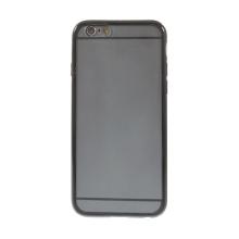 Kryt pro Apple iPhone 6 / 6S - gumový plastový / černý rámeček - matný průhledný