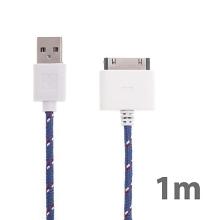 Synchronizační a nabíjecí kabel s 30pin konektorem pro Apple iPhone / iPad / iPod - tkanička - fialový - 1m