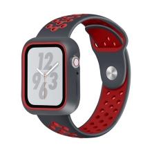 Řemínek pro Apple Watch 44mm Series 4 / 42mm 1 2 3 + ochranný rámeček - silikonový - černý / červený