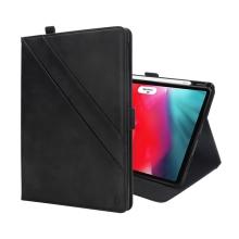 """Pouzdro pro Apple iPad Pro 12,9"""" (2018) - prostor pro dokumenty + stojánek - umělá kůže - černé"""