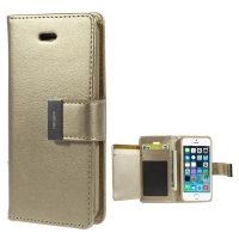 Vyklápěcí pouzdro - peněženka Mercury pro Apple iPhone 5 / 5S / SE - s prostorem pro umístění platebních karet - zlaté