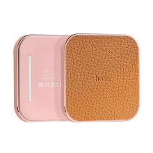 Bezdrátová nabíječka / nabíjecí podložka Qi HOCO - koženkový povrch / kovový rámeček Rose Gold