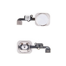 Obvod tlačítka Home Button + kovový rámeček + tlačítko Home Button pro Apple iPhone 6 / 6 Plus - bílo-stříbrné - kvalita A+
