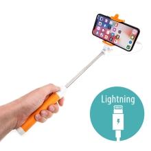 Selfie tyč / monopod - kabelová spoušť - konektor Lightning - oranžová