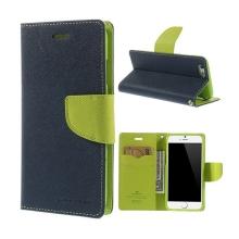 Pouzdro Mercury pro Apple iPhone 6 / 6S - stojánek a prostor pro platební karty - modro-zelené