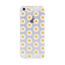 Kryt BABACO pro Apple iPhone 5 / 5S / SE - gumový - kopretiny - průhledný
