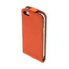 Flipové vyklápěcí pouzdro pro Apple iPhone 5 / 5S / SE s texturou kůže - oranžové