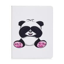Pouzdro pro Apple iPad 2 / 3 / 4 - stojánek + prostor pro platební karty - panda s přikrytýma očima