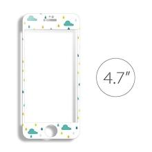 Super odolné tvrzené sklo LOFTER (Tempered Glass) přední část + samolepka na zadní část pro Apple iPhone 6 / 6S - bílé s obrázky