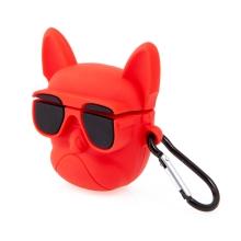 Pouzdro / obal pro Apple Airpods - buldoček - silikonové - červené