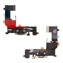 Napájecí a datový konektor s flex kabelem + audio konektor jack pro Apple iPhone 5S - černý - kvalita A+