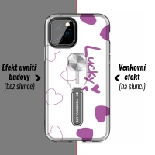 Kryt pro Apple iPhone 11 Pro - změna barvy pod UV zářením - plastový / gumový - bílý / černý - srdíčka