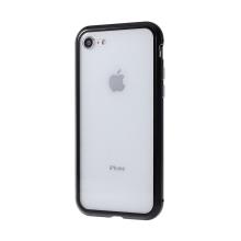 Kryt pro Apple iPhone 7 / 8 / SE (2020) - magnetické uchycení - sklo / kov - 360° ochrana - průhledný / černý