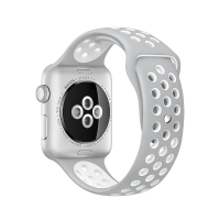 Řemínek pro Apple Watch 40mm Series 4 / 5 / 38mm 1 2 3 - silikonový - šedý / bílý - (S/M)
