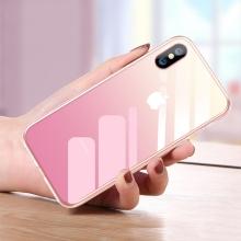 Kryt CAFELE pro Apple iPhone Xs Max - sklo / silikon - růžový