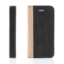 Pouzdro pro Apple iPhone 5 / 5S / SE - stojánek a prostor pro platební karty - vzor dřeva 3
