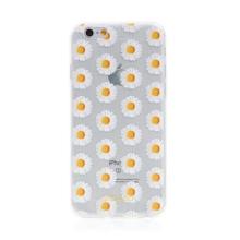 Kryt BABACO pro Apple iPhone 6 / 6S - gumový - kopretiny - průhledný