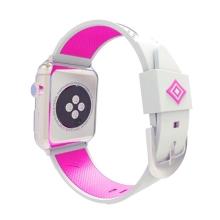 Řemínek pro Apple Watch 40mm Series 4 / 5 / 38mm 1 2 3 - silikonový - bílý / fialový pruh