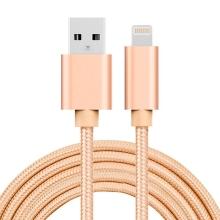 Synchronizační a nabíjecí kabel - Lightning pro Apple zařízení - tkanička - kovové koncovky - zlatý - 1m