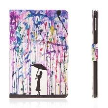 Pouzdro / kryt pro Apple iPad mini 4 - integrovaný stojánek a prostor na doklady - barevný déšť