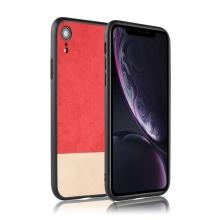 Kryt pro Apple iPhone Xr - plastový / umělá kůže - červený / béžový