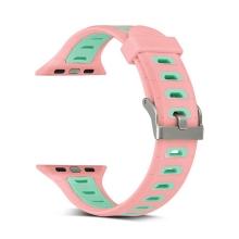 Řemínek pro Apple Watch 40mm Series 4 / 5 / 38mm 1 2 3 - silikonový - růžový / zelené otvory - (S/M)
