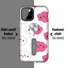 Kryt pro Apple iPhone 11 Pro - změna barvy pod UV zářením - plastový / gumový - bílý / černý - mráčky