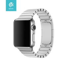 Řemínek DEVIA pro Apple Watch 44mm Series 4 / 5 / 42mm 1 2 3 - nerezový - stříbrný