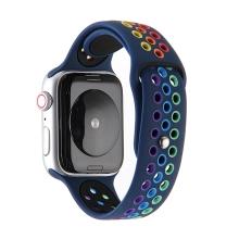 Řemínek pro Apple Watch 44mm Series 4 / 5 / 6 / SE / 42mm 1 / 2 / 3 - silikonový - duhový / modrý