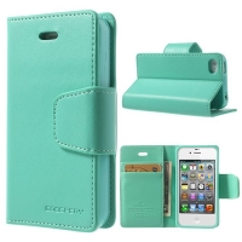 Vyklápěcí pouzdro Mercury Sonata Diary pro Apple iPhone 4 / 4S se stojánkem a prostorem na osobní doklady - světle zelené