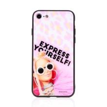 Kryt BARBIE pro Apple iPhone 7 / 8 / SE (2020) - Express Yourself - skleněný - růžový