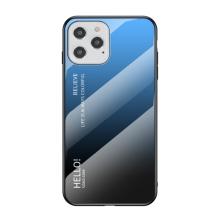 Kryt pro Apple iPhone 12 / 12 Pro - skleněný / gumový - černý / modrý
