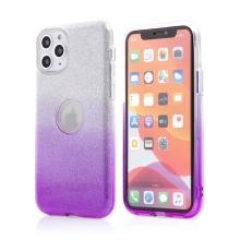 Kryt FORCELL Shining pro Apple iPhone 11 Pro Max - výřez pro logo - plastový / gumový - stříbrný / fialový