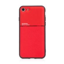Kryt pro Apple iPhone 7 / 8 / SE (2020) - vestavěný plíšek pro držáky - plastový / gumový - červený